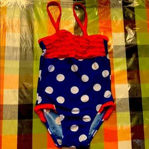 Red white blue polka dot swimsuit size 24 months